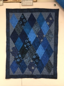 """Blue Diamonds. About 39"""" x 29"""". Machine pieced and quilted. Completed July 2016."""