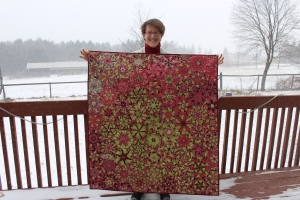 """Hydrangia Explosion. Completed January 2017. One Block Wonder pattern. About 48"""" x 48"""". Machine pieced, hand and machine quilted. A gift for Adrienne D'Olimpio."""